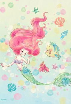 Disney Smile Ariel little mermaid fan art sketch illustration watercolor pastel