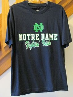 Click photo to see this in our eBay store.....  Genuine Stuff Notre Dame Fighting Fightin' Irish Large Blue T-Shirt Graphic Logo #GenuineStuff #StPatricksDayCasualEveryday #Irish #NotreDame #blue #green #StPatricksDay #t-shirt #graphic