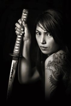 The lady with the dragon tatoo with Japanese Sword by Fsm Fashionstudiomanila - People Portraits of Women ( b&w, fierce, fsm, tatoo, sword ) Female Samurai, Female Ninja, Samurai Art, Samurai Warrior, Japanese Warrior, Japanese Sword, Katana Swords, Samurai Swords, Tattoo Guerreiro