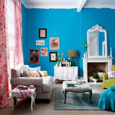 Bright Turquoise walls.