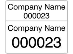 Assetmark dual serial number label (black text), 26mm x 30mm. You can buy these labels here: http://www.labelsource.co.uk/labels/assetmark-dual-serial-number-label--black-text---26mm-x-30mm/bsj01