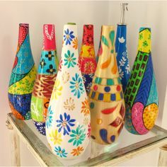 painted bottles - Buscar con Google                                                                                                                                                      Más