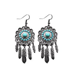 Bohemian floral carved silver plated alloy earrings with turquoise stones Turquoise Stone, Silver Plate, Plating, Stones, Carving, Bohemian, Drop Earrings, Floral, Things To Sell