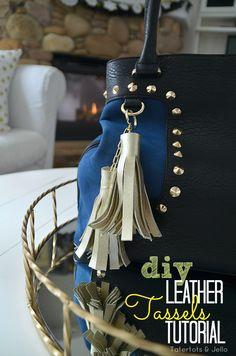 DIY Leather Tassel Tutorial at Tatertots and Jello #DIY #Tassels