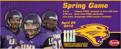 Spring game is set for April 25, 2014. Details: 5 p.m. tailgate (500 fans get free sandwich) 6:30 p.m. game (free admission) Free posters available after the game for autographs. Fans encouraged to bring new or partially used hygiene products to donate to Salvation Army. Any size bottle welcome.