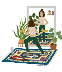 Ginnie Hsu — Self-care Anime Ponytail, Magazine Editorial, Mirror Art, Plant Illustration, Cool Pictures, Kids Rugs, Animation, Drawings, Nice Picture