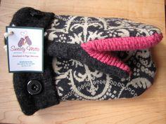 Sweaty Mitts - Upcycled Sweater Mittens Womens Black Cream Pink Etsy: SweatyMitts
