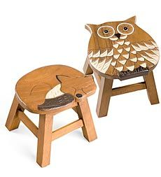 I love these stools.  So inviting! hand-carved-wooden-stools #PlowandHearth
