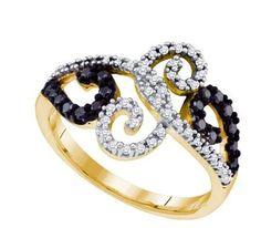 10KT Yellow Gold 0.33 CTW BLACK DIAMOND FASHION RING