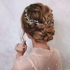 Bridal hair piece Bridal hair vine Blue Opal Bridal hair vine Bridal Halo Bridal Back Bridal Hair Vine, Wedding Hair Vine, Whimsical Wedding Hair, Romantic Bridal Hair, Bridal Hair Updo Loose, Wedding Hair Styles, Wedding Up Do, Bohemian Wedding Hair, Romantic Updo