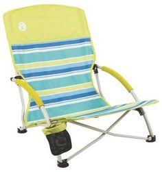 Coleman Utopia Breeze Beach Sling Chair - Green/Blue Stripes