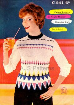 PDF of a Knitting pattern for a 1950's Retro Ladies Fair Isle Sweater. ~ mid-century Modern version of the traditional style
