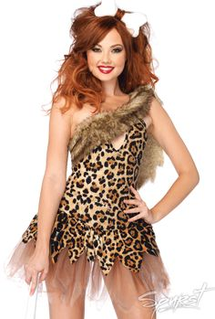 Cave Girl Cutie Costume  Two piece Cave Girl Cutie costume includes dress with layered zig zag skirt and bone headpiece.