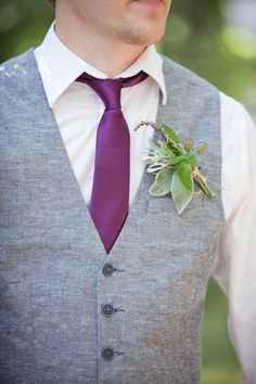 Wedding Inspirations | Plum Weddings | UBetts Rental & Design | Groom's Tie