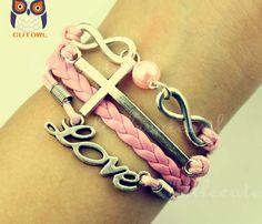 Infinity jewelry cross love bracelet pink karma by littlecuteowl, $5.59