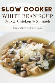 Slow cooker soup white bean soup is one of the simplest weeknight dinner solutions around! This crockpot chicken soup recipe combines chicken spinach and white beans to create a comforting flavorful meal. Best Crockpot Recipes, Healthy Soup Recipes, Slow Cooker Recipes, Curry Recipes, Healthy Meals, Healthy Eating, Chicken Tender Recipes, Chicken Soup Recipes, Savoury Dishes