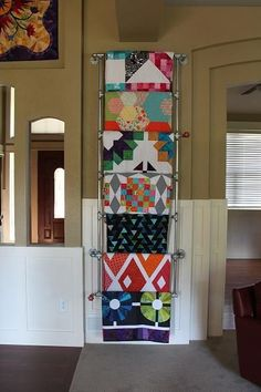 DIY Metal Quilt Ladder - using galvanized pipes - at Sassafras Lane Quilt Display, My Sewing Room, Sewing Rooms, Quilt Hangers, Quilt Racks, Quilt Ladder, Blanket Ladder, Hanging Quilts, Quilt Storage