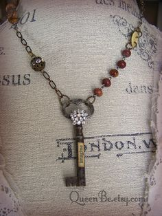 Truly a vintage gypsy or steampunk look, hanging from an antique style chain, this old skeleton key has been reborn in the form of a fun necklace!