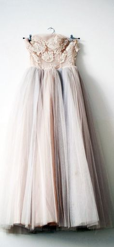 Romantic, Vintage, Tulle. :: Lovely blush dress with a tinted tulle skirt:: Retro Dreams:: Fool for Tulle