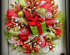 A Couple Left!!! - HUGE -- LIMITED Edition - RAZ Deco Mesh Christmas Wreath - Red and Lime Green - Raz Decorations