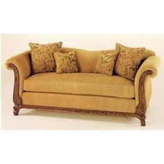 C & L Designs -2400 SL sofa and love seat set custom upholstery with rolled arms and wood trim and feet