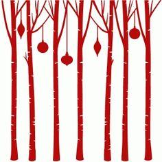 Silhouette Design Store - View Design #100549: birch tree circle ornament