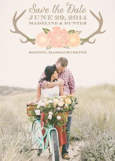 Sweet Nature Save The Date Announcements, Deer Antlers with Pink Flowers, Couple on Bike, Arm around girl Engagements Bike Wedding, Wedding Bells, Dream Wedding, Save The Date Invitations, Wedding Invitations, Save The Date Photos, Engagement Inspiration, Marry You, Engagement Pictures