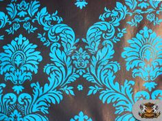 """Taffeta Damask Velvet Flocking Fabric 12 TURQUOISE / 58"""" Wide / Sold by the yard"""