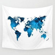 Wall Tapestry World Map Navy Dark Blue White by LoveThatTooMuch