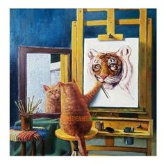 Cat Tiger 5D Diamond Embroidery Painting Cross Stitch Home Decor Diy Craft Kit