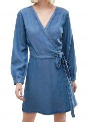 Women's Fashion Faux Wrap Belted Denim Dress