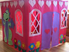 Card Table Playhouse Tent Pink Princess Castle Tent by TamsShoppe