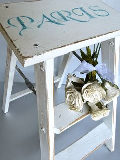 Vintage Ladder, Old White Ladder, Shabby, Paris, Cottage, Farmhouse, Rustic, French Country. $52.00, via Etsy.