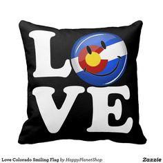 Love Colorado Smiling Flag Pillow