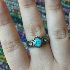 Turquoise Sterling Ring Turquoise look (not convinced it is) sterling silver ring. Southwest style. Marked 925, no makers mark. Needs to be polished. I would say it's a 7.5-8. Jewelry Rings