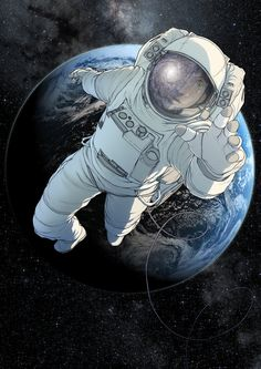 An print of an astronaut against the backdrop of earth, on heavyweight matt paper in very high quality. Please select whether you want the print signed or unsigned when you add it to your cart. Astronaut Drawing, Astronaut Illustration, Space Illustration, Astronaut Tattoo, Tumblr Wallpaper, Mayor Tom, Man On The Moon, Wow Art, Art Design