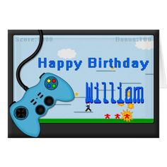 Shop Video Game and Blue Controller Boys Birthday Card created by ArtformTheHeart. Happy Birthday Boy, Blue Birthday Parties, Birthday Cards For Boys, New Arcade Games, Egg Game, Adventure Games, Little Pets, Custom Greeting Cards, Thoughtful Gifts