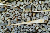 Interesting - wedges added for stability in a large woodpile