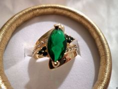 womens green cubic zirconia solitaire w/accents 14k gold filled size 7 ring #Unbranded #SolitairewithAccents