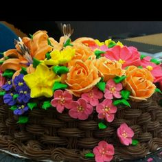 Garden cake with royal icing flowers