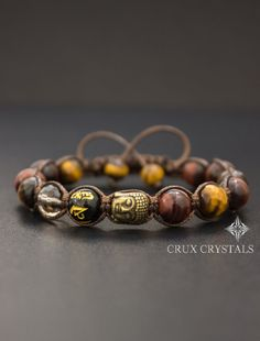 Buddha Red & Brown Tigers Eye Beaded Bracelet Prosperity Gemstone Shamballa Bracelet Beaded Macrame Tigers Eye Tibetan Mantra Mens Bracelet