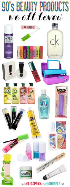 90's Beauty Products! Which of these did you use?..I used to wear exclamation perfume all the time and smackers and glitter roll on all in my foldable make up case lol
