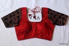 Maroon and black blouse - VIKA Boutique Simple Blouse Designs, Stylish Blouse Design, Blouse Neck Designs, Dress Designs, Black Saree Blouse, Churidar Neck Designs, Designer Blouse Patterns, Casual Work Outfits, Kalamkari Kurti
