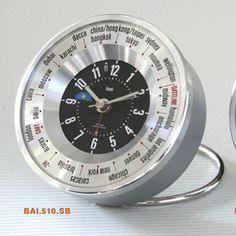 Bai Design Auto-Align World Trotter Travel Alarm Clock Color: Silver/Black