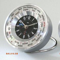 Bai Design Auto-Align World Trotter Travel Alarm Clock Color: Silver/Black Clock Decor, Desk Clock, Metallic Spray Paint, Farmhouse Wall Clocks, Travel Alarm Clock, Tabletop Clocks, Modern Clock, Daylight Savings Time, Fine Furniture