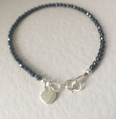 Personalised Black Hematite Heart Charm Bracelet, Hematite Gemstone Bracelet, Heart Charm Bracelet, Stacker Bracelet, Sparkly Jewelry…
