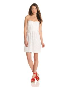Rebecca Taylor Women's Eyelet Silk Strapless Dress, White