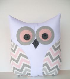 Adorable owl pillow decorative grey pink white chevron pillow, zigzag, nursery, child's room pillow decor.