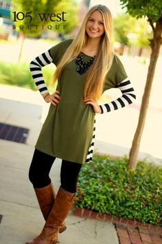 "The ""Billie"" Tunic Dress is perfectly paired with our Fall Leggings in Black! The ""Billie"" is available in Olive or Royal Blue! S,M & L $28.99!  Available at 105 West Boutique located in Abbeville, SC. (864)366-WEST. Shipping $5. Available In Store & Online!!! Find us on Facebook and Instagram!"