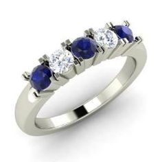 Rings - Pentagon - Sapphire Ring in 14k White Gold with SI Diamond (0.62 ct.tw.)